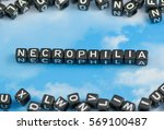 Small photo of The word Necrophilia on the sky background