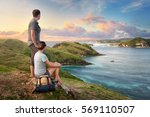couple tourists with backpacks...   Shutterstock . vector #569110507