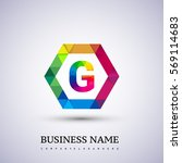 g letter colorful logo in the... | Shutterstock .eps vector #569114683