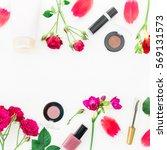 flat lay  top view. feminine... | Shutterstock . vector #569131573
