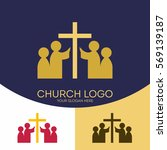 church logo. christian symbols. ... | Shutterstock .eps vector #569139187