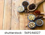 a variety of local herbs and... | Shutterstock . vector #569146027