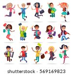 jumping smiling people with... | Shutterstock .eps vector #569169823