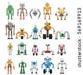 robots collection on white.... | Shutterstock .eps vector #569169913