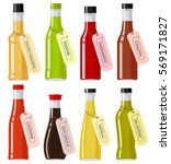 oriental sauce kinds in glass... | Shutterstock .eps vector #569171827