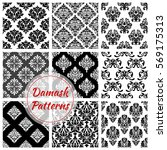 damask flowery pattern set of... | Shutterstock .eps vector #569175313