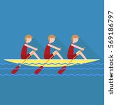 students rowing red | Shutterstock .eps vector #569186797