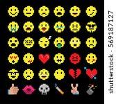 vector pixel art of  smiley...   Shutterstock .eps vector #569187127