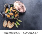 Boiled Mussels In Copper Pan O...
