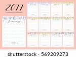 floral bright 2017 calendar....   Shutterstock .eps vector #569209273