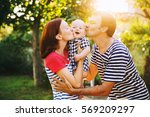 happy family having fun and... | Shutterstock . vector #569209297