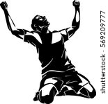victorious soccer player... | Shutterstock .eps vector #569209777
