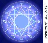 zodiac signs set on shiny magic ... | Shutterstock .eps vector #569222557