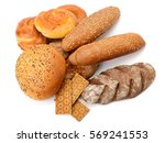 fresh bread isolated on white... | Shutterstock . vector #569241553