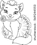 Stock vector cat princess coloring page 569244553