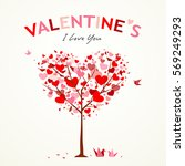 happy valentine's day tree... | Shutterstock .eps vector #569249293