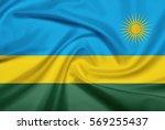 rwanda flag with fabric texture.... | Shutterstock . vector #569255437