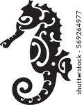 maori seahorse. idea for tattoo | Shutterstock .eps vector #569264977