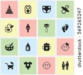 set of 16 editable child icons. ... | Shutterstock .eps vector #569265247