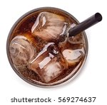 glass of cola and ice isolated... | Shutterstock . vector #569274637