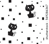 vector of black cat and square... | Shutterstock .eps vector #569286367