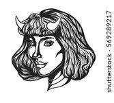 devil woman head portrait with... | Shutterstock .eps vector #569289217