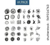pack of scribble art elements.... | Shutterstock .eps vector #569316763