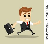 businessman running to work...   Shutterstock .eps vector #569318437