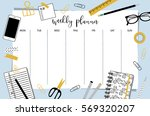 weekly planner template.... | Shutterstock .eps vector #569320207