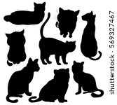 vector cats silhouette isolated ... | Shutterstock .eps vector #569327467
