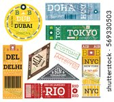 retro baggage tags. vector...   Shutterstock .eps vector #569330503