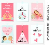 valentines day greeting cards... | Shutterstock .eps vector #569338717