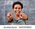 portrait of attractive happy... | Shutterstock . vector #569345803