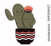 cactus love and hug vector... | Shutterstock .eps vector #569359417