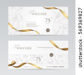 Set of stylish gift voucher with golden ribbon and silver floral pattern. Vector template for gift card, coupon and certificate. Isolated from the background. | Shutterstock vector #569369827