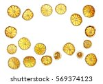 dry lime slices isolated on... | Shutterstock . vector #569374123