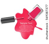 poured pink nail lacquer... | Shutterstock .eps vector #569387377