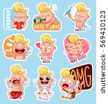 color set of cupids for... | Shutterstock .eps vector #569410123
