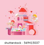 vector valentines day greeting... | Shutterstock .eps vector #569415037