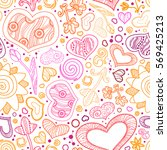valentines day card ornate... | Shutterstock .eps vector #569425213