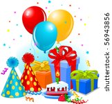 birthday gifts and decoration... | Shutterstock .eps vector #56943856