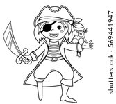 pirate with parrot. black and... | Shutterstock .eps vector #569441947