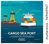 sea transportation logistic.... | Shutterstock .eps vector #569445967