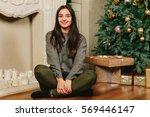 beautiful young brunette girl... | Shutterstock . vector #569446147