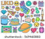 patch badges set. doodle sketch ... | Shutterstock .eps vector #569460883
