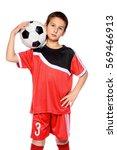 nine year old boy football... | Shutterstock . vector #569466913