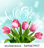 hello spring hand lettering... | Shutterstock .eps vector #569467957