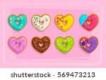 set of vector sweet cake... | Shutterstock .eps vector #569473213