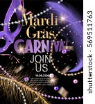 mardi gras party invitation... | Shutterstock .eps vector #569511763