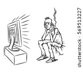 sad tired man watching tv  rgb... | Shutterstock .eps vector #569513227